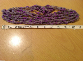 Purple and Gray Knitted Head Band or Necklace with purple beads image 5