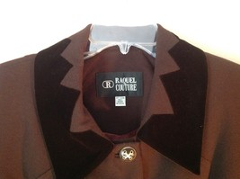 Raquel Couture Brown Blazer Four Fancy Button Closure No Size Tag Made in USA image 2