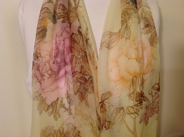 Peony Summer Sheer Fabric Scarf, pastel colors of your choice image 4