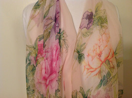 Peony Summer Sheer Fabric Scarf, pastel colors of your choice image 10