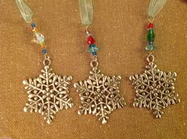 Pewter suncatcher ornament glass beads snowflake hand made USA Cynthia Webb image 3