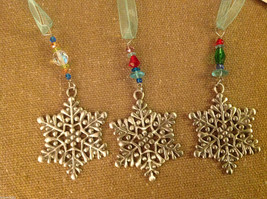 Pewter suncatcher ornament glass beads snowflake hand made USA Cynthia Webb image 4
