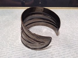 Pewter Base Metal Handcrafted Hammered Wide Cuff Bracelet with Relief image 3