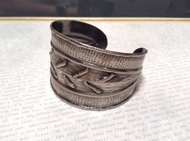 Pewter Base Metal Handcrafted Hammered Wide Cuff Bracelet with Relief image 2