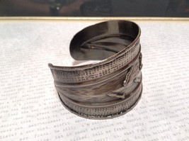 Pewter Base Metal Handcrafted Hammered Wide Cuff Bracelet with Relief image 4