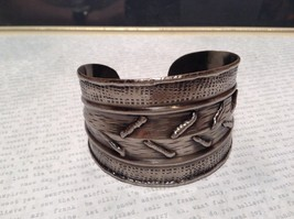 Pewter Base Metal Handcrafted Hammered Wide Cuff Bracelet with Relief image 5