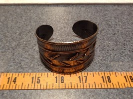 Pewter Base Metal Handcrafted Hammered Wide Cuff Bracelet with Relief image 7