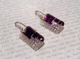 Pewter and Enamel Handcrafted Earrings Purple with Clear Glossy Finish image 2