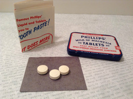Phillips Milk of Magnesia Tin w Tablets Great Condition Vintage Collectible only image 2