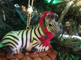 Pine Cone Pet Ornament Zebra Pine Cone Pet w real fabric scarf image 5