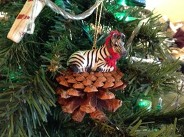 Pine Cone Pet Ornament Zebra Pine Cone Pet w real fabric scarf image 3