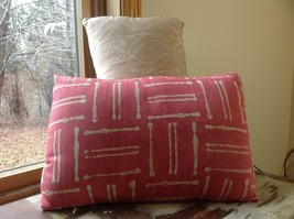 Pillow Set Red Pattern and Blue Light Pink Pattern Pillow with Zipper on Side image 4