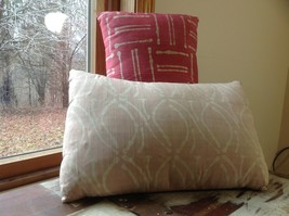 Pillow Set Red Pattern and Blue Light Pink Pattern Pillow with Zipper on Side image 2
