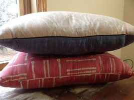 Pillow Set Red Pattern and Blue Light Pink Pattern Pillow with Zipper on Side image 6