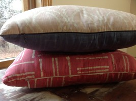 Pillow Set Red Pattern and Blue Light Pink Pattern Pillow with Zipper on Side image 5