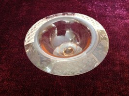 Pink Glass Raised Display Bowl with Etched Flowers and Other Designs on Rim image 2