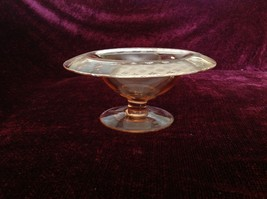 Pink Glass Raised Display Bowl with Etched Flowers and Other Designs on Rim image 3
