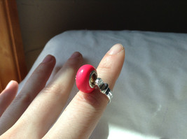 Pink Bead Silver Ring Size 3.25 by Beadit image 4