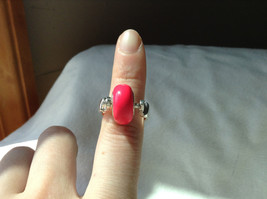 Pink Bead Silver Ring Size 3.25 by Beadit image 7