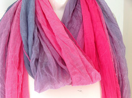 Pink Gray Watercolor Scrunched Scarf 66 Inches Long 26 Inches Wide image 2