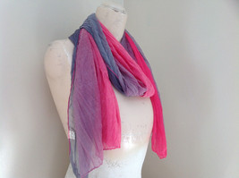 Pink Gray Watercolor Scrunched Scarf 66 Inches Long 26 Inches Wide image 3