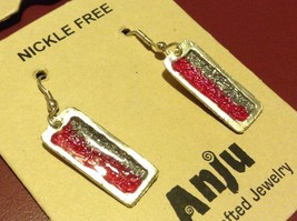 Pink & Gray Abstract Bar Glossy Finish Pewter & Enamel Earrings Handmade image 3