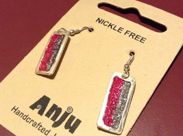 Pink & Gray Abstract Bar Glossy Finish Pewter & Enamel Earrings Handmade image 5