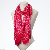 Pink tonal batik style diamond-pattern rayon scarf image 2