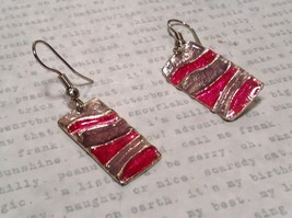 Pink and Gray Waves Glossy Finish Pewter and Enamel Handcrafted Earrings image 2