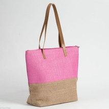 Pink color Block tote Summer with Jute image 2
