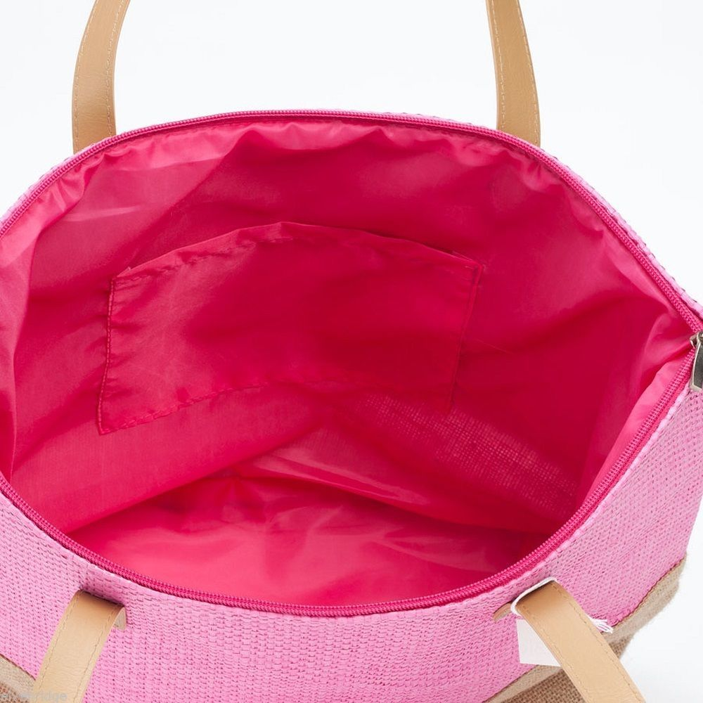 Pink color Block tote Summer with Jute