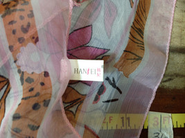 Pink Orange Green Tropical Flowered Square Fashion Scarf by Hanfei NO TAGS image 7