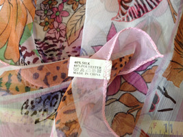 Pink Orange Green Tropical Flowered Square Fashion Scarf by Hanfei NO TAGS image 8