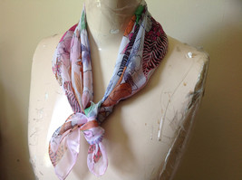 Pink Orange Green Tropical Flowered Square Fashion Scarf by Hanfei NO TAGS image 2