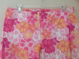 Pink Orange White Flower Capri Pants Side Zip Closure Liz Claiborne Size 10 image 2