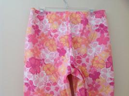 Pink Orange White Flower Capri Pants Side Zip Closure Liz Claiborne Size 10 image 7