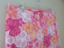 Pink Orange White Flower Capri Pants Side Zip Closure Liz Claiborne Size 10 image 4
