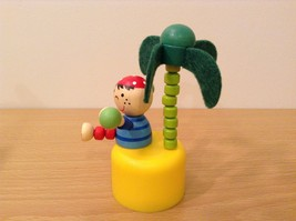 Pirate Wooden Wobbly Push Up traditional  pirate on desert island w palm tree image 3