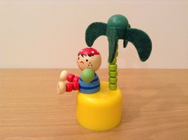 Pirate Wooden Wobbly Push Up traditional  pirate on desert island w palm tree image 2