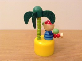 Pirate Wooden Wobbly Push Up traditional  pirate on desert island w palm tree image 7