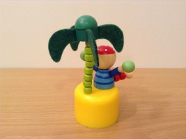 Pirate Wooden Wobbly Push Up traditional  pirate on desert island w palm tree image 6