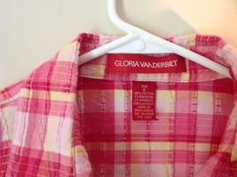 Pink Yellow Red Plaid Gloria Vanderbilt Sleeveless Button Down Blouse Size Small image 4