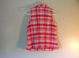 Pink Yellow Red Plaid Gloria Vanderbilt Sleeveless Button Down Blouse Size Small image 6