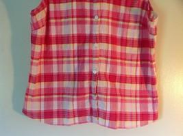 Pink Yellow Red Plaid Gloria Vanderbilt Sleeveless Button Down Blouse Size Small image 3