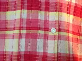 Pink Yellow Red Plaid Gloria Vanderbilt Sleeveless Button Down Blouse Size Small image 5