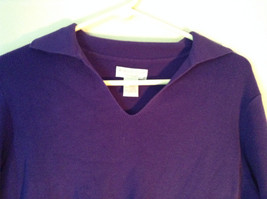 Plain Purple Long Sleeve Collared Top by Worthington Essentials Size Medium image 2