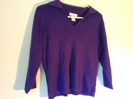Plain Purple Long Sleeve Collared Top by Worthington Essentials Size Medium image 3