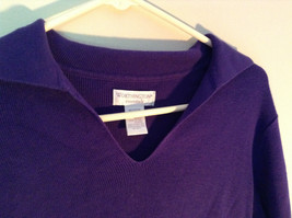Plain Purple Long Sleeve Collared Top by Worthington Essentials Size Medium image 4