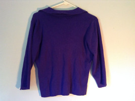 Plain Purple Long Sleeve Collared Top by Worthington Essentials Size Medium image 5