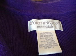 Plain Purple Long Sleeve Collared Top by Worthington Essentials Size Medium image 6